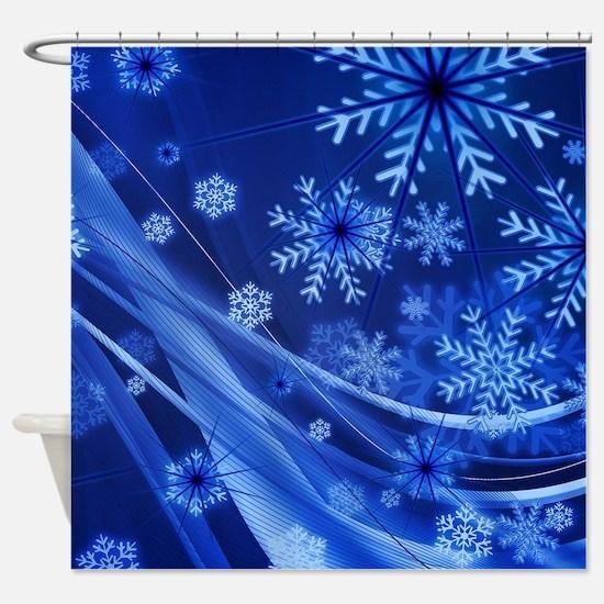 Blue Snowflakes Christmas Shower Curtain
