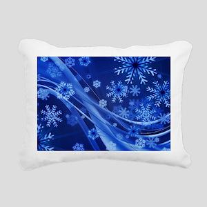 Blue Snowflakes Christma Rectangular Canvas Pillow