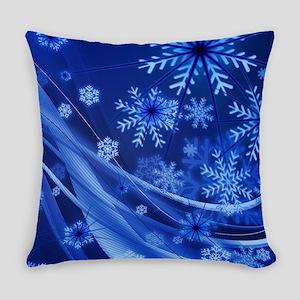 Blue Snowflakes Christmas Everyday Pillow