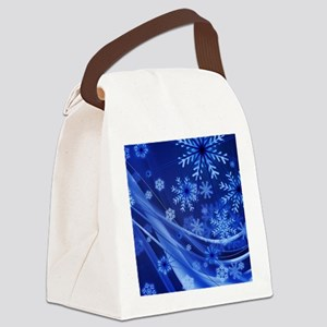 Blue Snowflakes Christmas Canvas Lunch Bag