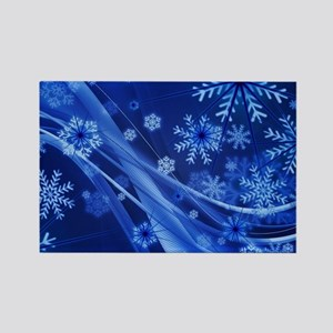 Blue Snowflakes Christmas Magnets