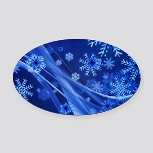 Blue Snowflakes Christmas Oval Car Magnet