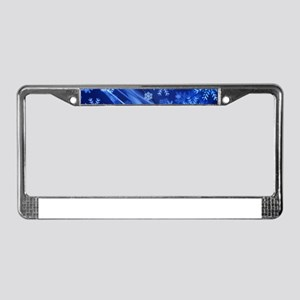 Blue Snowflakes Christmas License Plate Frame