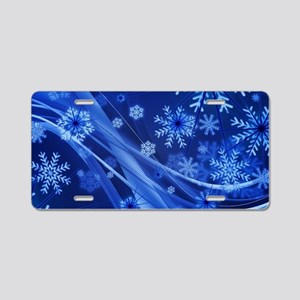 Blue Snowflakes Christmas Aluminum License Plate
