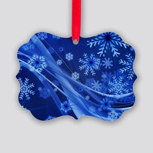 Blue Snowflakes Christmas Picture Ornament