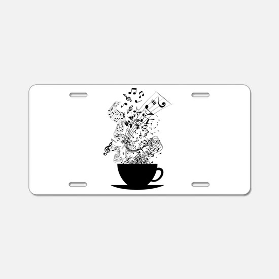 Cup of Music Aluminum License Plate