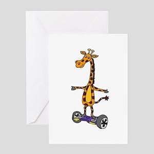Funny Giraffe Using Segway Skateboa Greeting Cards