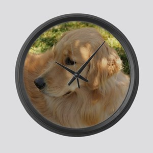 golden retriever grass Large Wall Clock