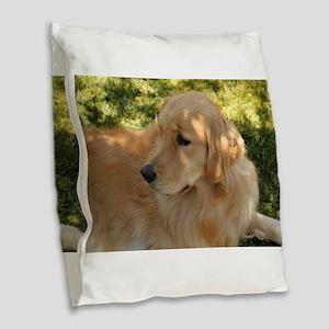 golden retriever grass Burlap Throw Pillow