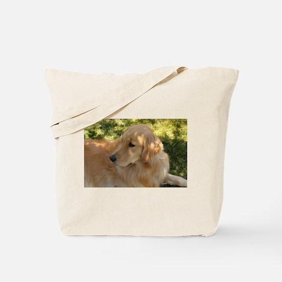 golden retriever grass Tote Bag