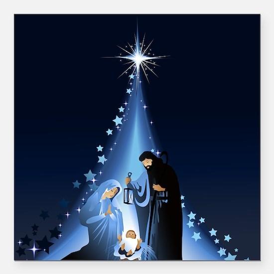 """Nativity scene Square Car Magnet 3"""" x 3"""""""