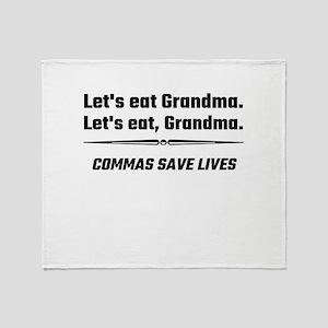 Let's Eat Grandma Commas Save Lives Throw Blanket