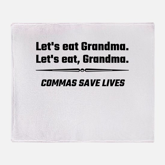 Let's Eat Grandma Commas Save Lives Throw Blanket