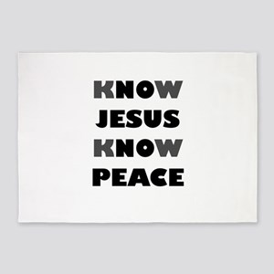 KNOW JESUS KNOW PEACE 5'x7'Area Rug
