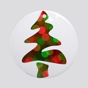 merry christmas bokeh Round Ornament