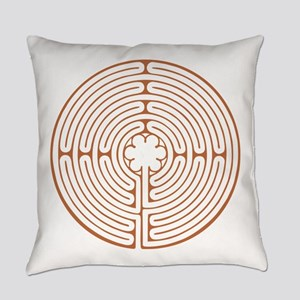 Brown Chartres Labyrinth Everyday Pillow