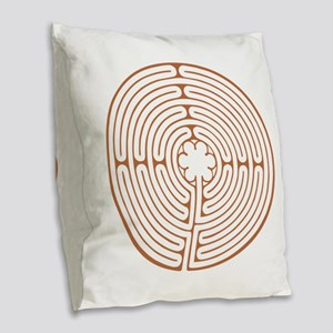 Brown Chartres Labyrinth Burlap Throw Pillow