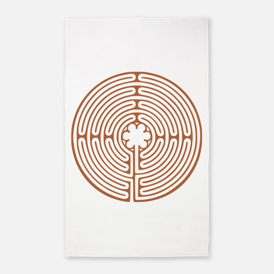 Brown Chartres Labyrinth Area Rug