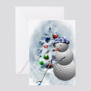 Golf Ball Snowman xmas Greeting Card