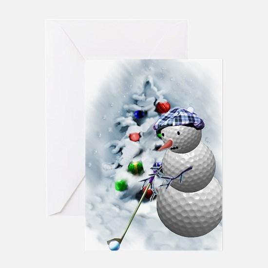 Golf Ball Snowman xmas Greeting Card
