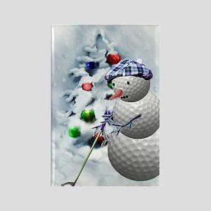 Golf Ball Snowman xmas Rectangle Magnet