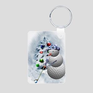 Golf Ball Snowman xmas Aluminum Photo Keychain