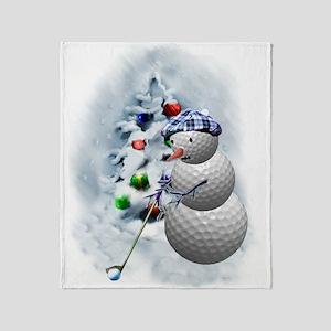 Golf Ball Snowman xmas Throw Blanket