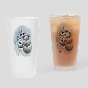 Golf Ball Snowman xmas Drinking Glass