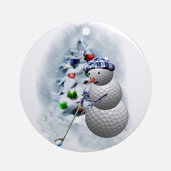 Golf Ball Snowman xmas Round Ornament