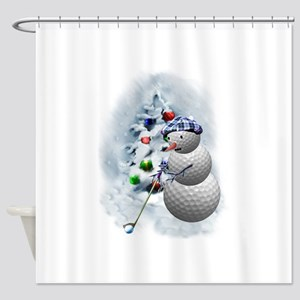 Golf Ball Snowman xmas Shower Curtain