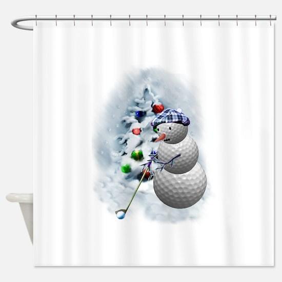 Golf Ball Snowman xmas Shower Curtain