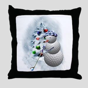 Golf Ball Snowman xmas Throw Pillow