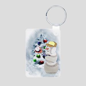 Baseball Snowman xmas Aluminum Photo Keychain