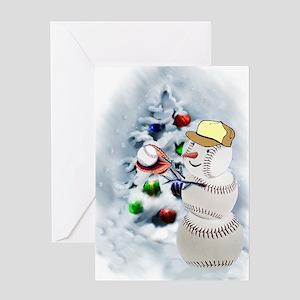 Baseball Snowman xmas Greeting Card