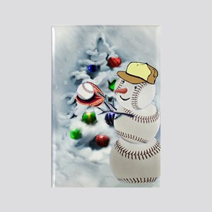 Baseball Snowman xmas Rectangle Magnet