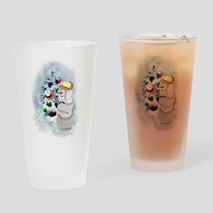 Baseball Snowman xmas Drinking Glass