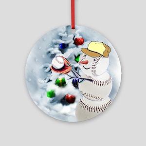 Baseball Snowman xmas Round Ornament