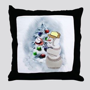 Baseball Snowman xmas Throw Pillow