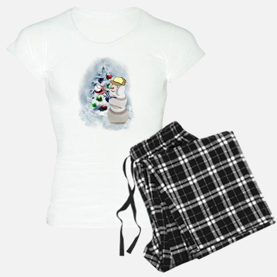 Baseball Snowman xmas Pajamas