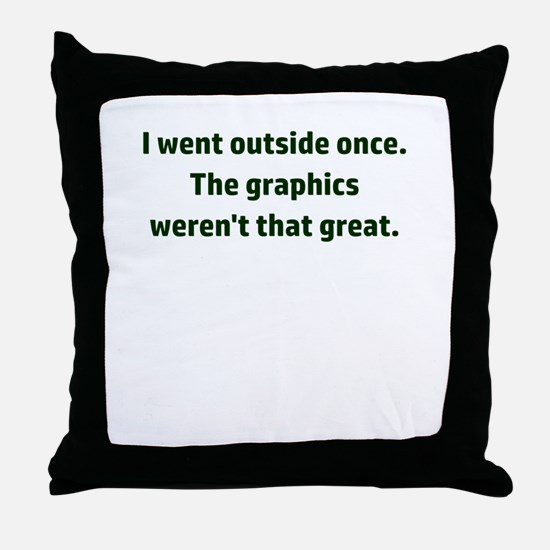 I went outside once. The graphics wer Throw Pillow