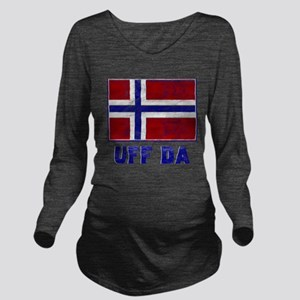 Uff Da Norway Flag Long Sleeve Maternity T-Shirt