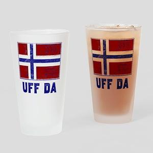 Uff Da Norway Flag Drinking Glass