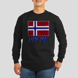 Uff Da Norway Flag Long Sleeve Dark T-Shirt
