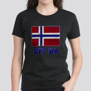 Uff Da Norway Flag Women's Dark T-Shirt