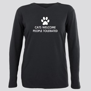 Cats Welcome People Tole Plus Size Long Sleeve Tee