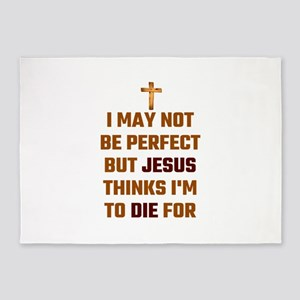 I May Not Be Perfect But Jesus Thin 5'x7'Area Rug
