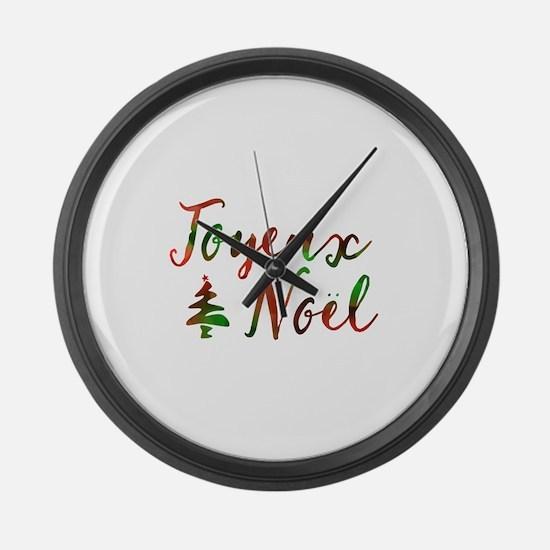 joyeux noel Large Wall Clock