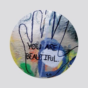 You Are Beautiful Graffiti Round Ornament