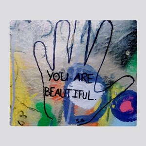 You Are Beautiful Graffiti Throw Blanket
