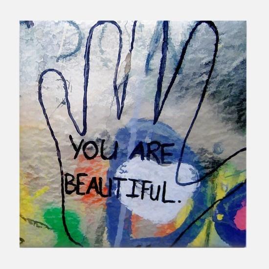You Are Beautiful Graffiti Tile Coaster